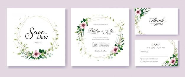 Modèle d'invitation mariage verdure et floral. Vecteur Premium