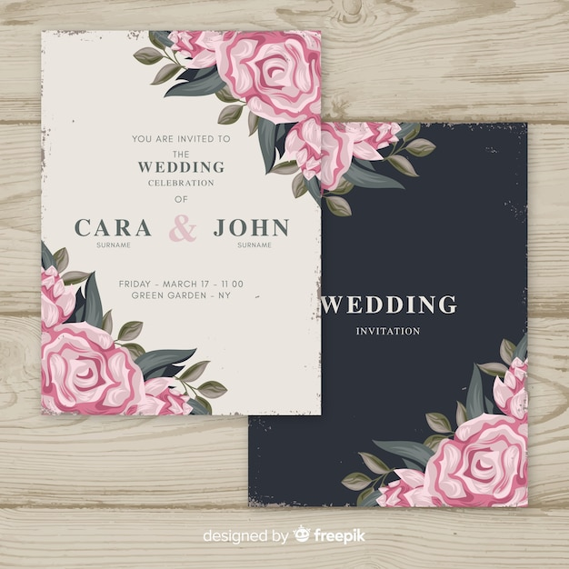 Modèle d'invitation de mariage vintage floral Vecteur gratuit