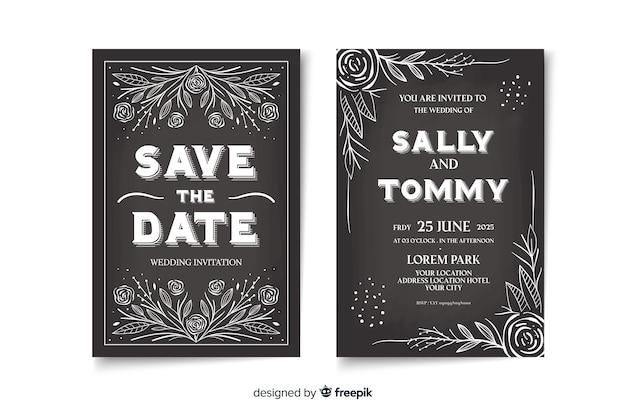 Modèle d'invitation de mariage vintage mignon sur tableau noir Vecteur gratuit