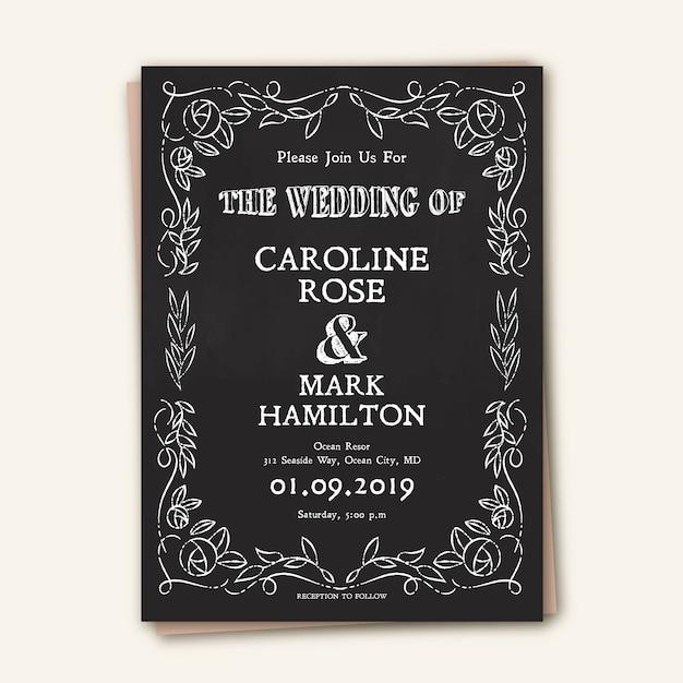 Modèle d'invitation de mariage vintage Vecteur gratuit