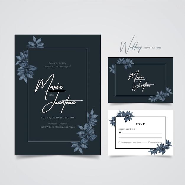 Modèle d'invitation de mariage Vecteur Premium