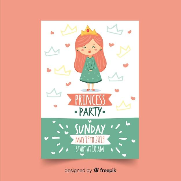 Modèle d'invitation partie princesse dessiné à la main Vecteur gratuit
