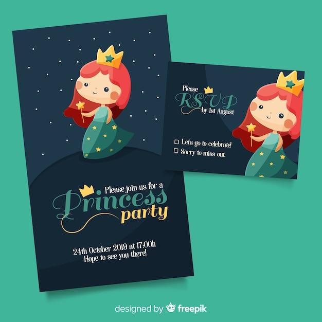 Modèle d'invitation partie princesse plate Vecteur gratuit