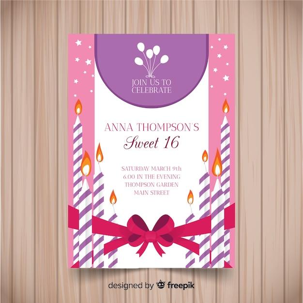 Modèle d'invitation de seize bougies rayées anniversaire Vecteur gratuit