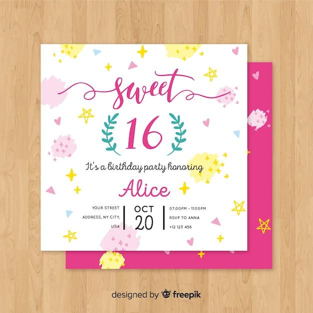 Modèle d'invitation de seize points de peinture anniversaire Vecteur gratuit