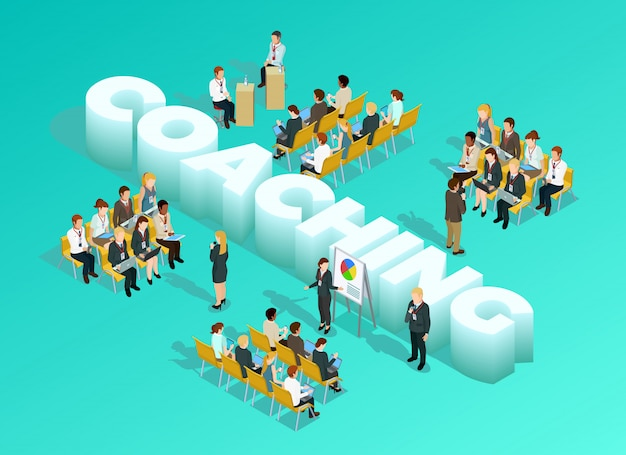 Modèle isométrique business education Vecteur gratuit