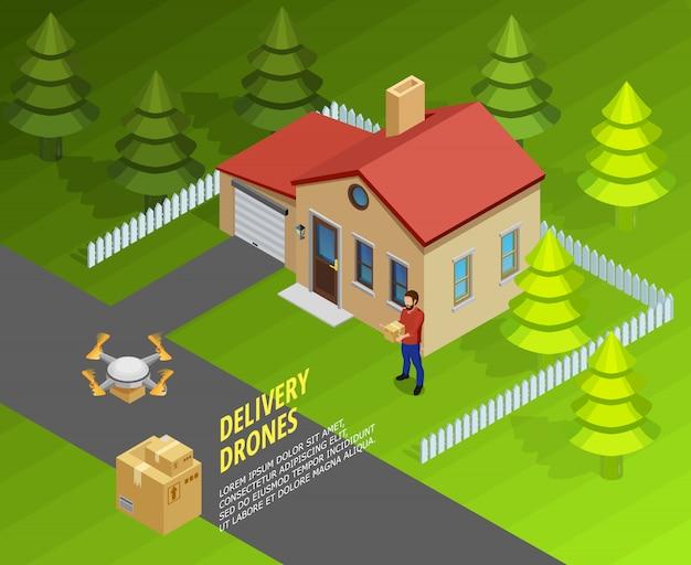 Modèle isométrique de livraison de drones Vecteur gratuit