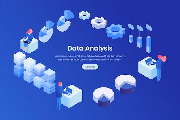 Modèle isométrique de page de destination d'analyse des données Vecteur Premium