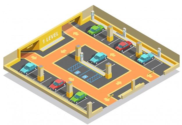 Modèle isométrique de parking souterrain Vecteur gratuit