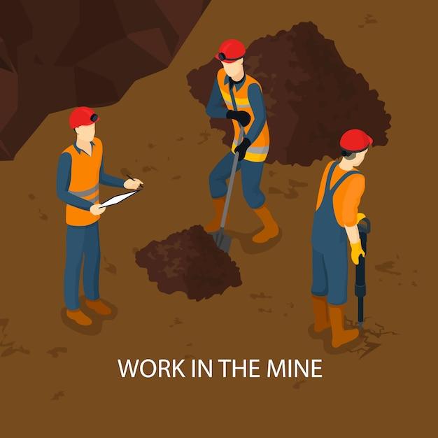 Modèle Isométrique De Personnes Dans La Mine Vecteur gratuit