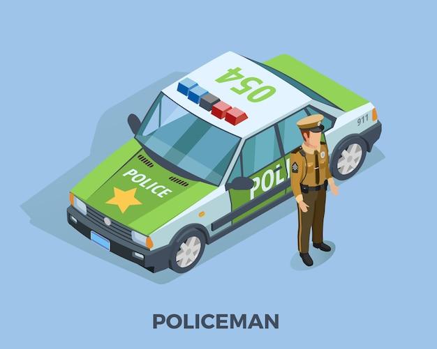 Modèle isométrique de profession de policier Vecteur gratuit
