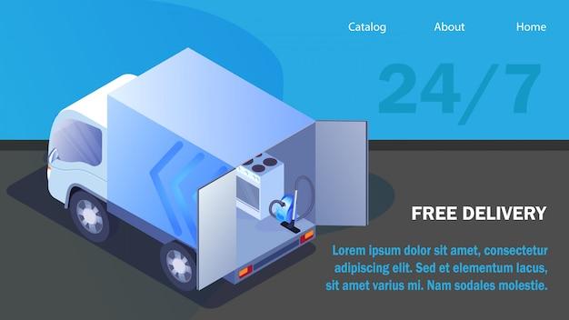 Modèle isométrique de site web d'électroménager Vecteur Premium