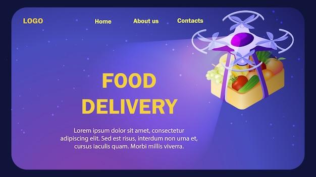 Modèle Isométrique De Site Web De Livraison De Nourriture Fraîche Vecteur Premium