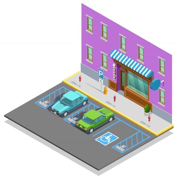 Modèle isométrique de zone de stationnement Vecteur gratuit