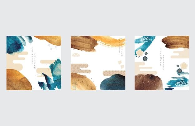 Modèle Japonais Avec Vecteur De Fond Icône Asiatique. Illustration De Coup De Pinceau Aquarelle Avec Motif De Vague. Vecteur Premium