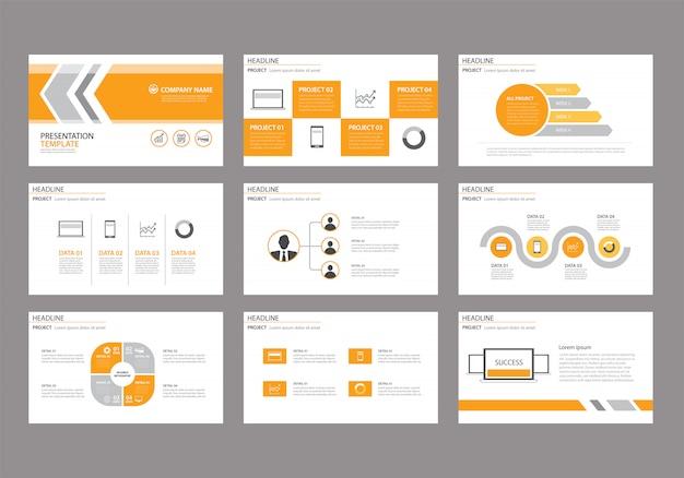 Modèle jaune pour la présentation de diapositives sur le fond. Vecteur Premium