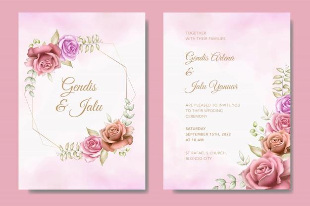Modèle De Jeu De Carte D'invitation De Mariage élégant Avec De Belles Fleurs Vecteur Premium