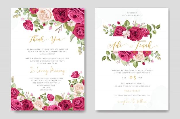 Modèle de jeu de carte de mariage avec beau fond floral et feuilles Vecteur Premium