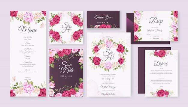 Modèle de jeu de carte de mariage avec belle floral et feuilles Vecteur Premium