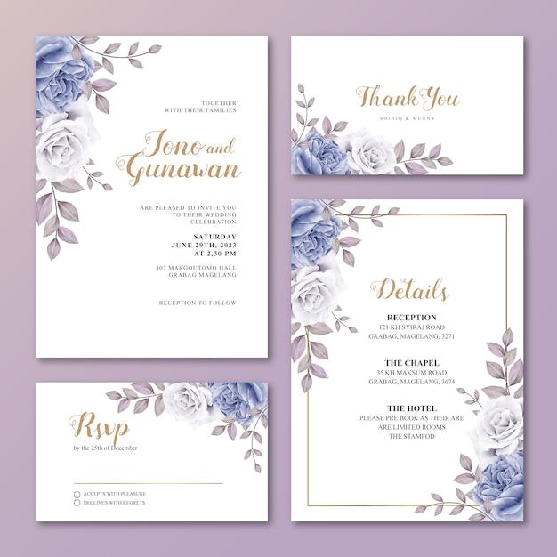 Modèle de jeu de carte de mariage avec de belles fleurs bleues roses Vecteur Premium