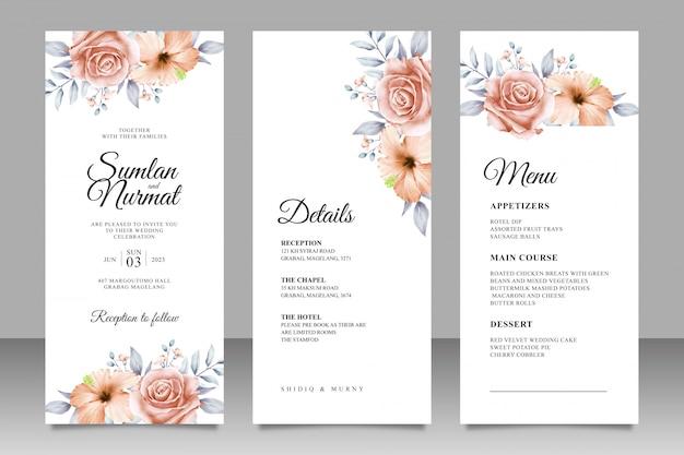 Modèle de jeu de cartes d'invitation de mariage de belles fleurs et feuilles Vecteur Premium