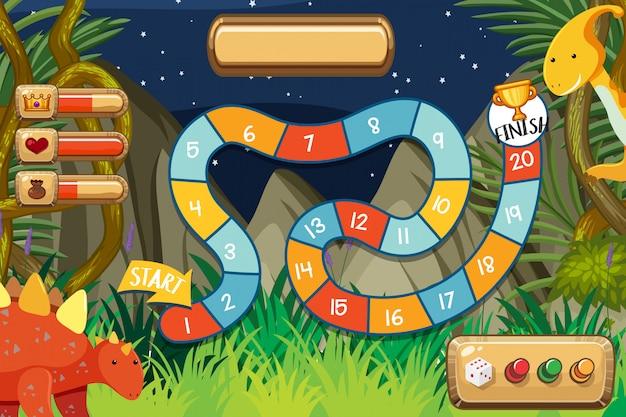 Modèle de jeu avec des dinosaures en forêt Vecteur Premium