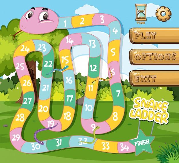 Un modèle de jeu d'échelle de serpent Vecteur Premium