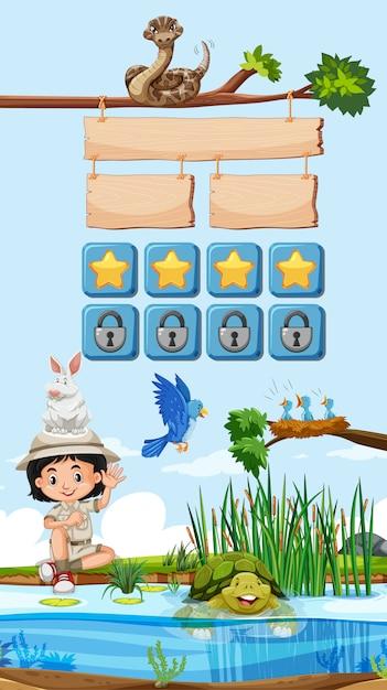 Modèle De Jeu Avec Enfant Et Animaux En Arrière-plan Vecteur gratuit