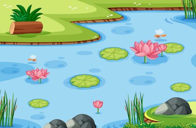 Modèle De Jeu Avec Feuille De Lotus Sur Marais Dans La Forêt Vecteur gratuit