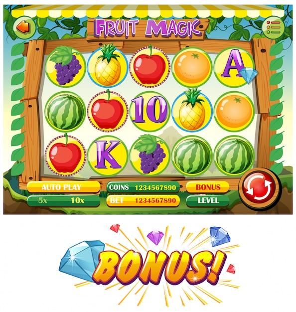 Modèle de jeu avec des fruits Vecteur gratuit