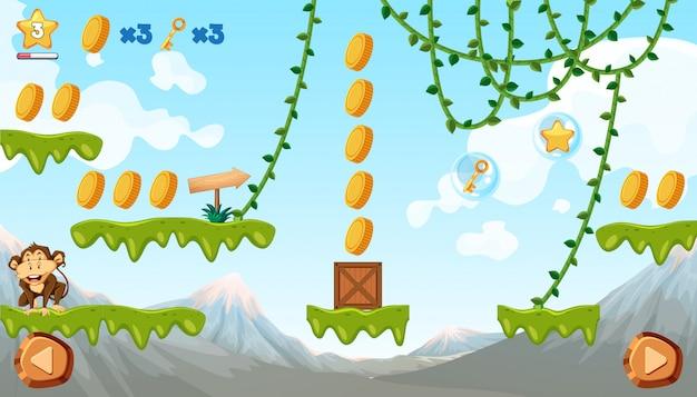 Modèle de jeu de la jungle avec singe Vecteur gratuit