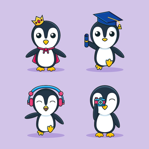 Modèle De Jeu De Mascotte De Dessin Animé Adorable Pingouin Vecteur Premium