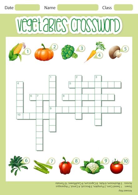 Modèle de jeu de mots croisés de légumes Vecteur gratuit