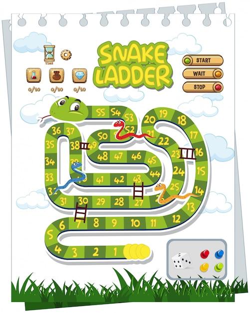 Un modèle de jeu de société de serpent Vecteur Premium