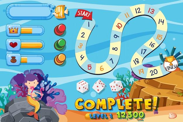 Modèle de jeu avec sous l'eau Vecteur Premium
