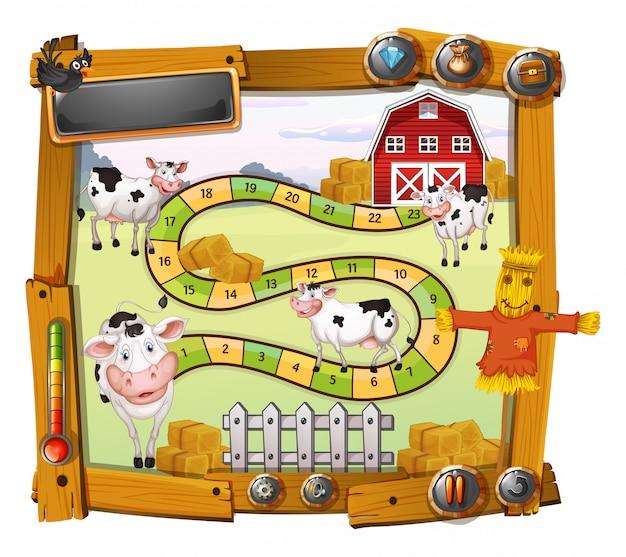 Modèle de jeu avec des vaches et une grange Vecteur gratuit