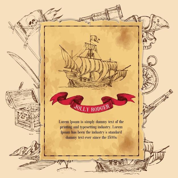Modèle Jolly Rodger Pirate Vecteur gratuit