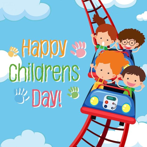 Modèle de jour des enfants heureux Vecteur Premium