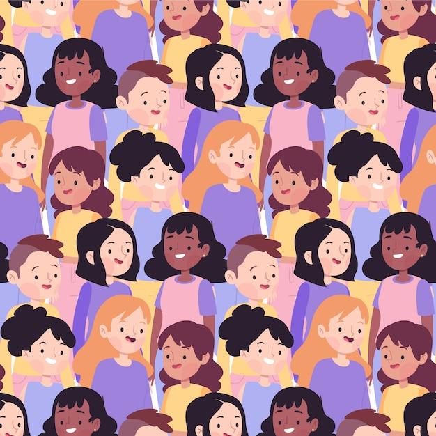 Modèle De Journée De La Femme Avec Divers Visages De Femmes Vecteur gratuit