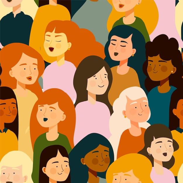 Modèle De Journée Des Femmes Avec Des Visages De Femmes Vecteur gratuit