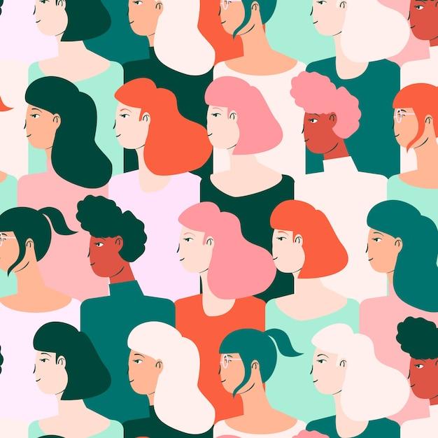 Modèle De Journée Des Femmes Avec Des Visages Vecteur gratuit