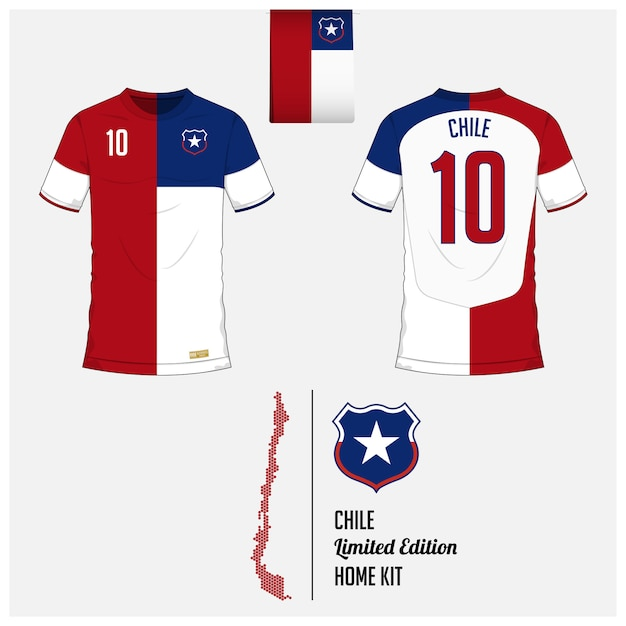 Modèle de kit de maillot ou de football chili Vecteur Premium