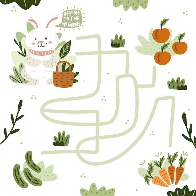 Modèle De Labyrinthe Pour Enfants Vecteur gratuit