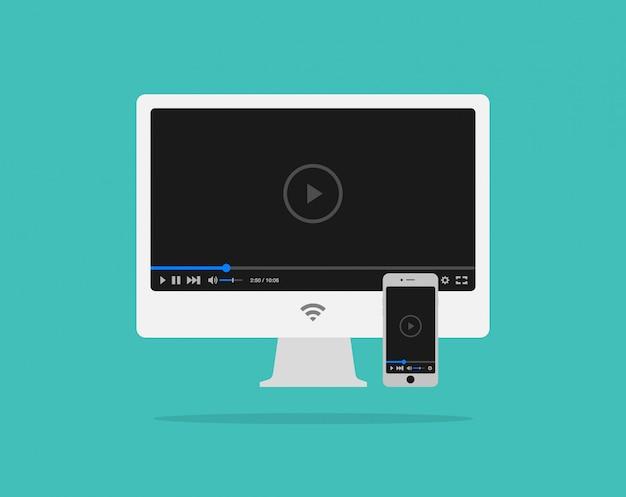 Modèle de lecteur vidéo plat pour applications web et mobiles sur ordinateur et smartphone Vecteur Premium