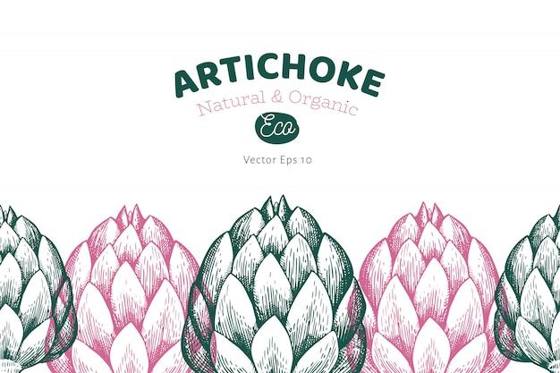 Modèle de légume d'artichaut. Vecteur Premium