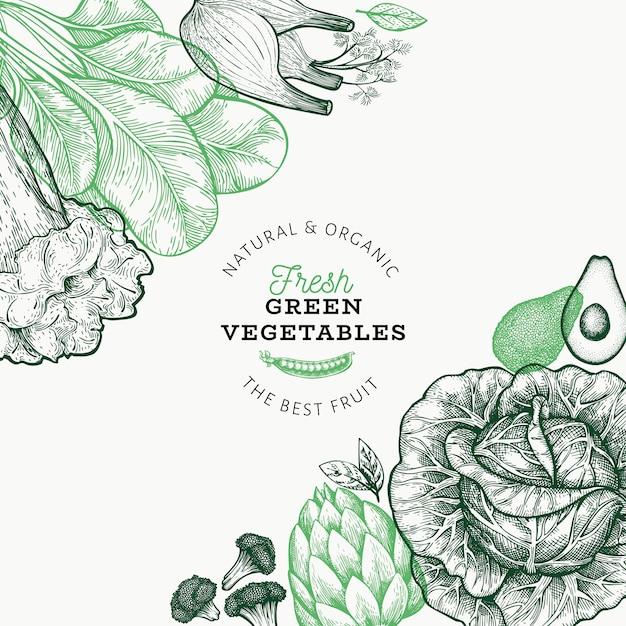 Modèle De Légumes Verts. Vecteur Premium