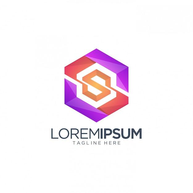 Modèle letterlogo hexagon Vecteur Premium