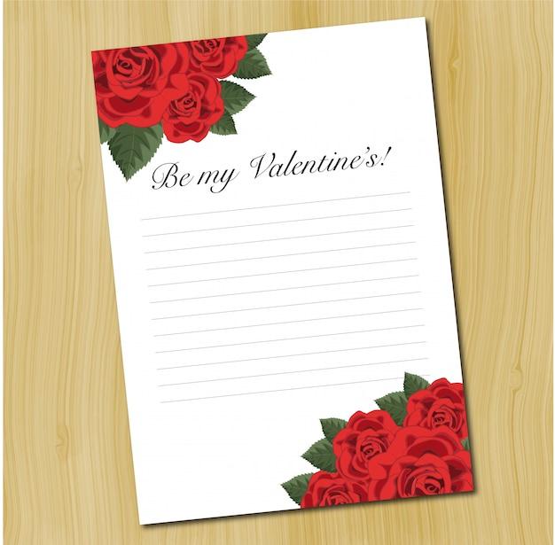 Un Modele De Lettre D Amour Vierge Avec Des Roses Rouges Vecteur Premium