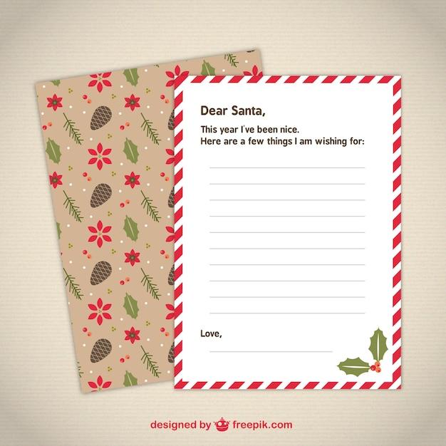 Modèle De Lettre Au Père Noël Mignon | Vecteur Gratuite