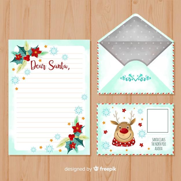 Modèle de lettre et enveloppe aquarelle noël Vecteur gratuit
